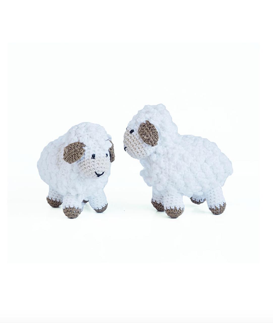 """Melange Little crochet sheep 4""""x3.5"""" - white"""