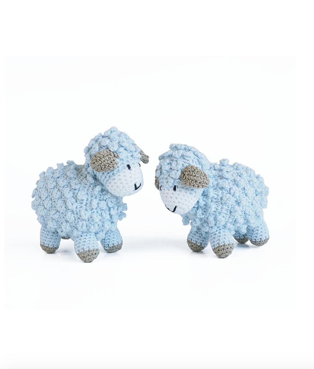 "Melange Little crochet sheep 4""x3.5"" - blue"
