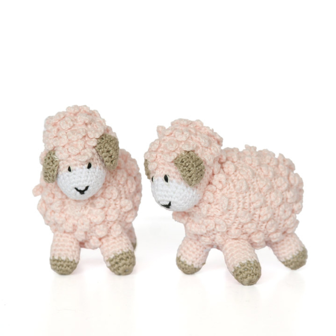 "Melange Little crochet sheep 4""x3.5"" - pink"