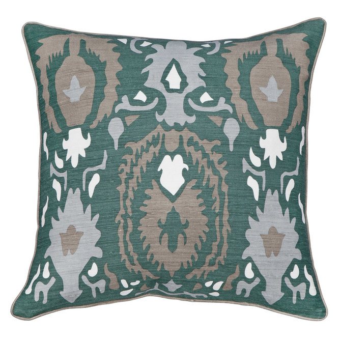 New Moon Regal, Blue Green Bamboo Silk Pillow 22x22