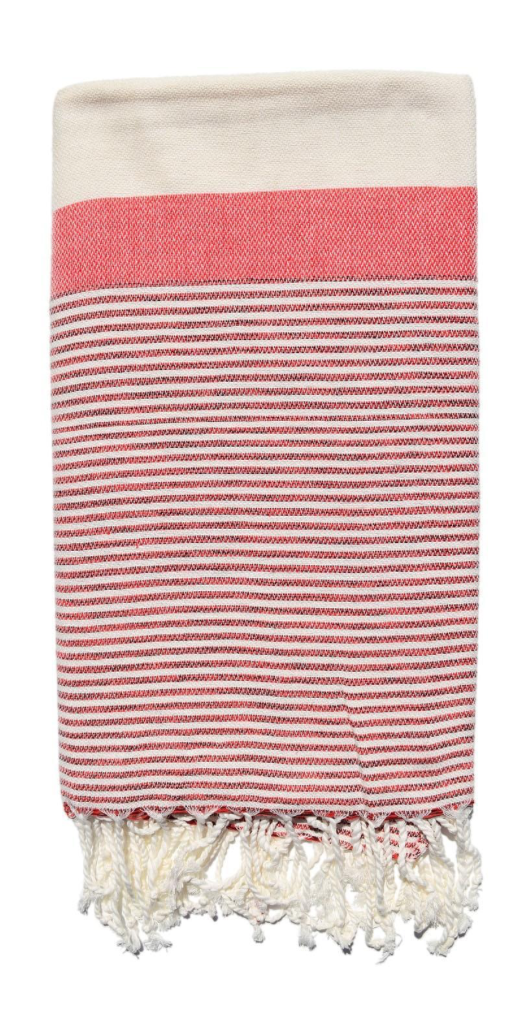 Olive and Loom Pencil Stripe Reshtemal Red