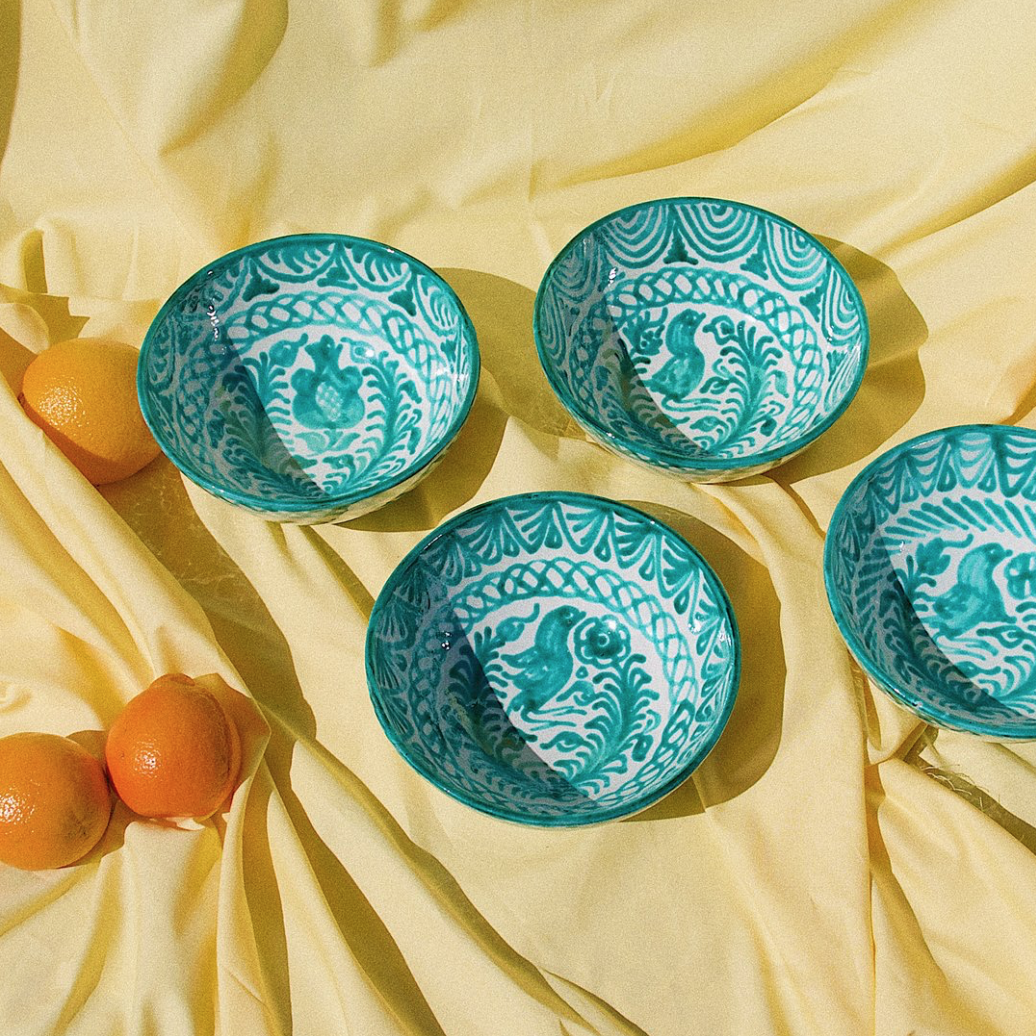 Pomelo Bowl Green Hand Painted Medium