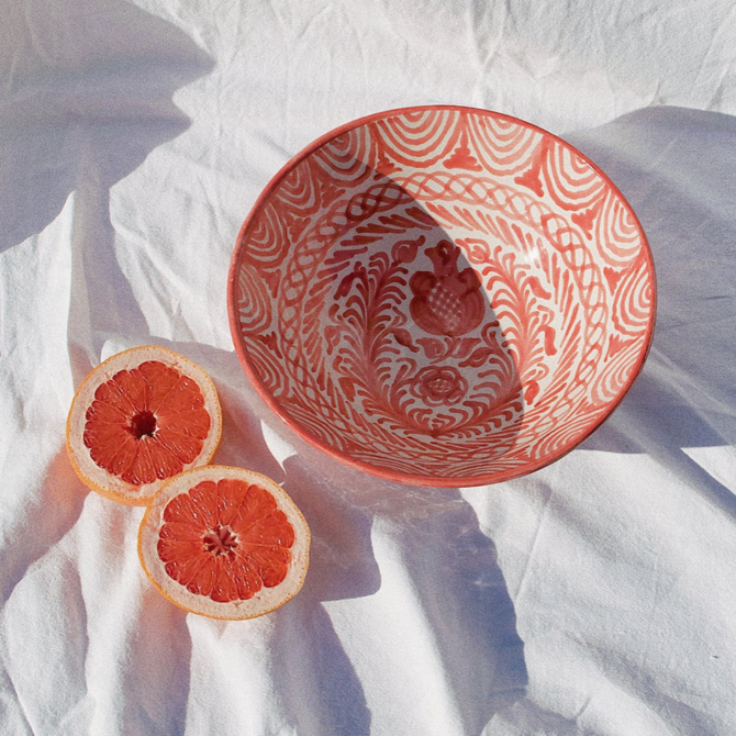 Pomelo Bowl Coral Hand Painted Medium