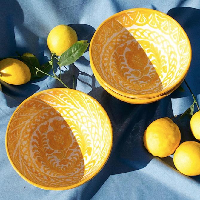 Pomelo Bowl Yellow Hand Painted Medium