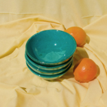 Pomelo Bowl Green Hand Painted Small