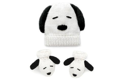 Stitch & Story Peanuts Baby Hat And Booties White/Black