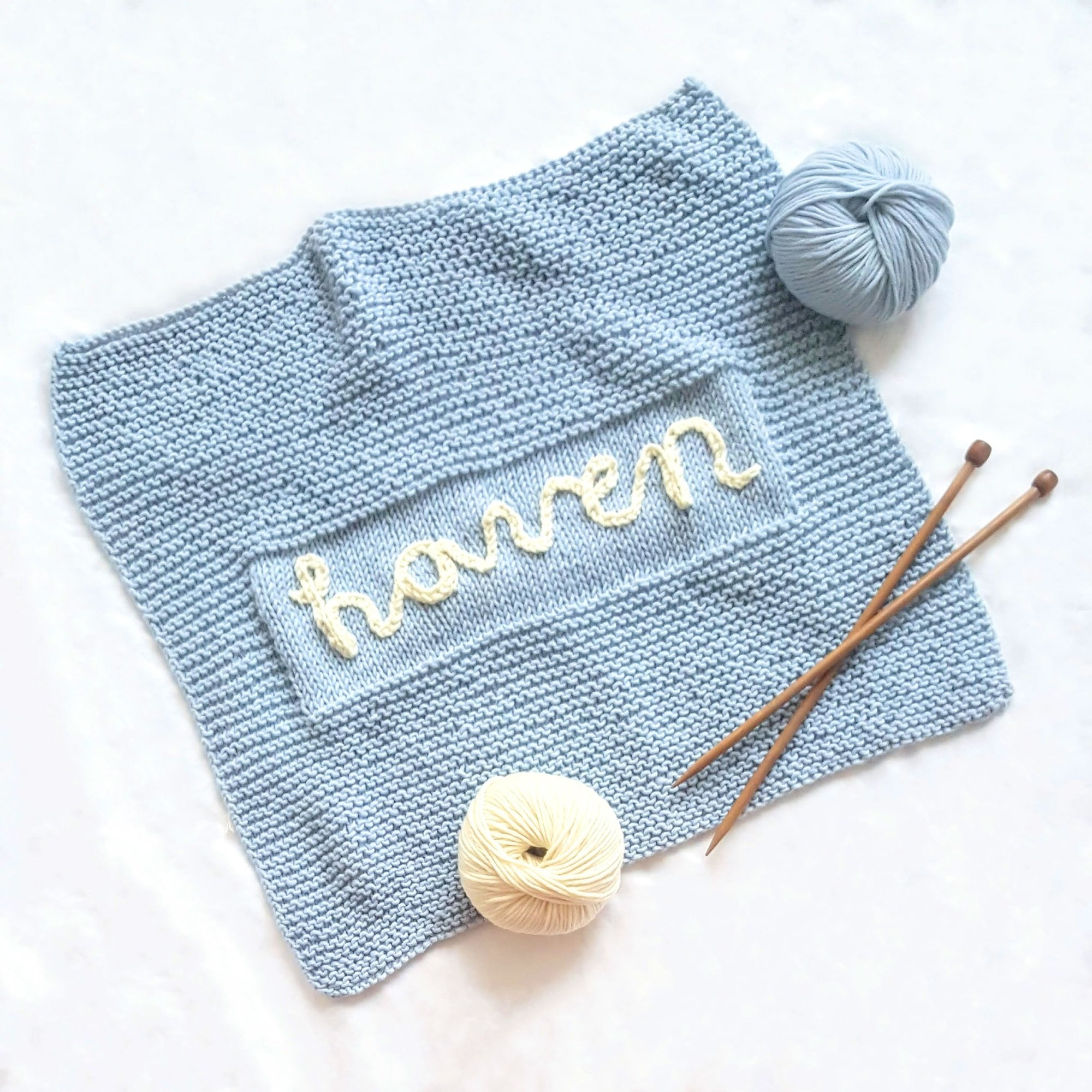 Stitch & Story Personalised Baby Blanket - Baby Blue