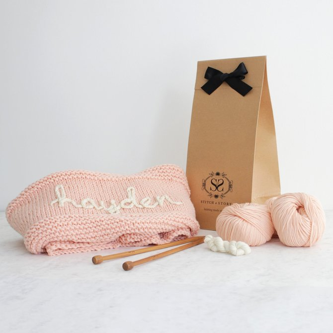 Stitch & Story Personalized Baby Blanket - Pink