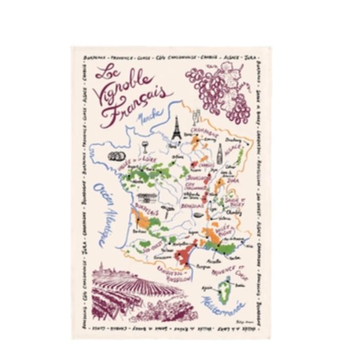 The French Farm Tea Towel Wine Map