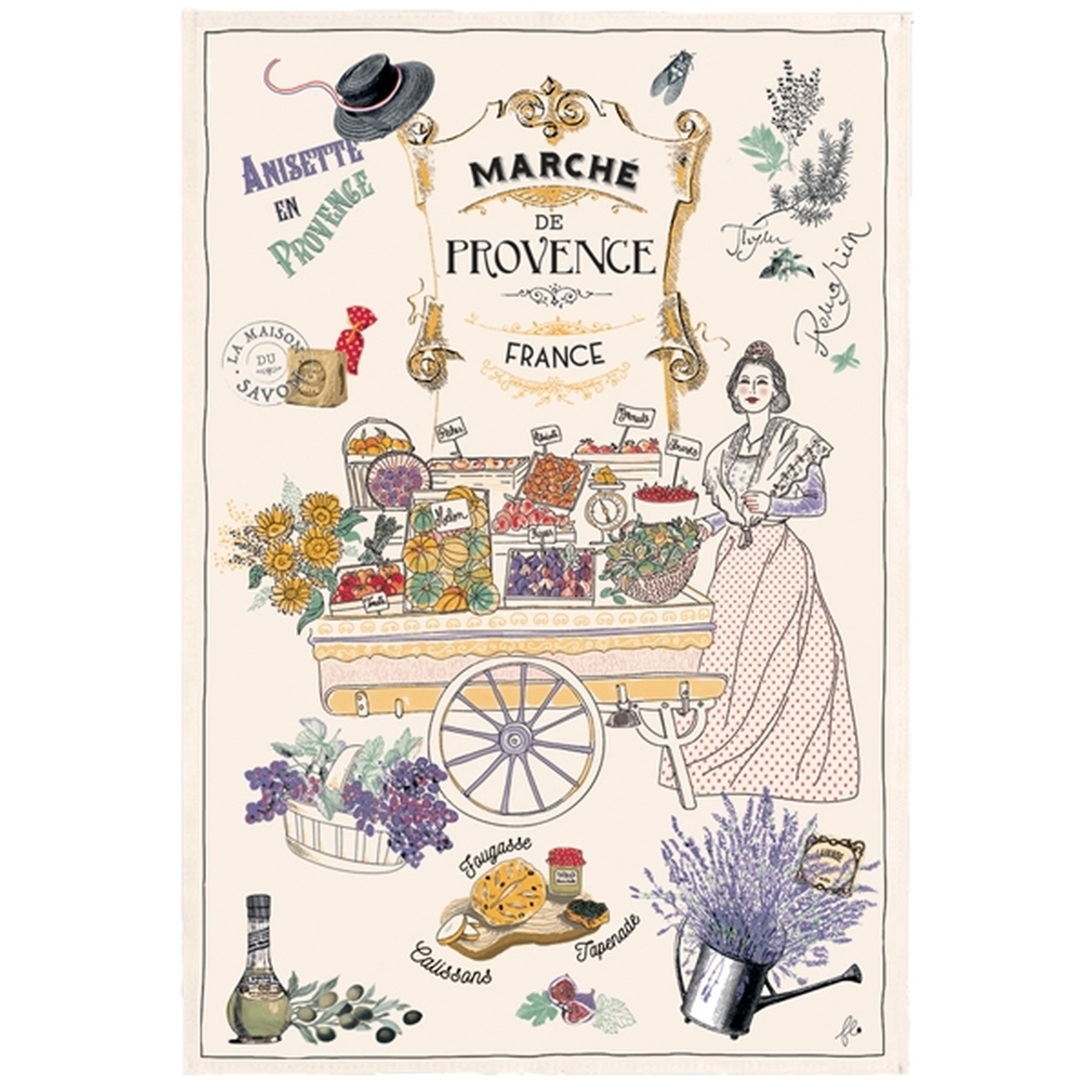 The French Farm Touchons & Bouchons Tea Towel