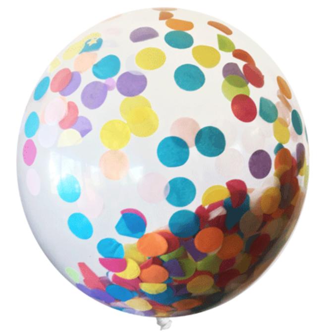 "Tops Malibu Big Confetti Balloon 18"" Polka Dot & Good Fortunes"