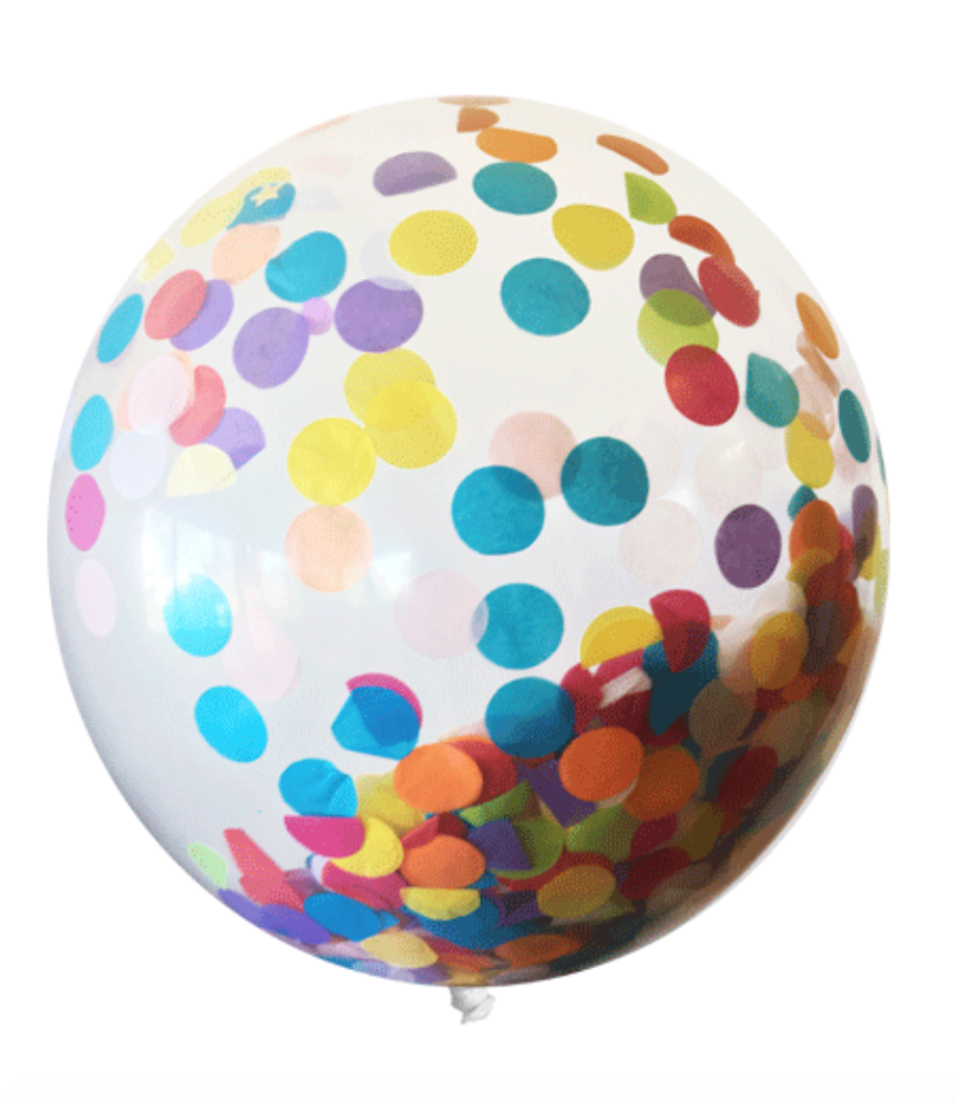 "Tops Malibu Big Confetti Balloon 18"" Polka Dot & Good Fortunes"