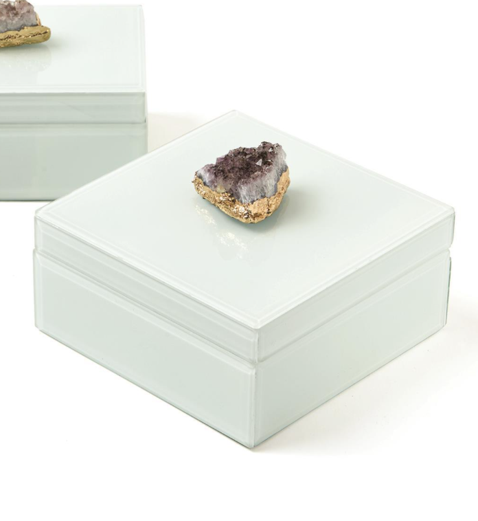 Two's Company Amethyst Geode Hinged Box Square