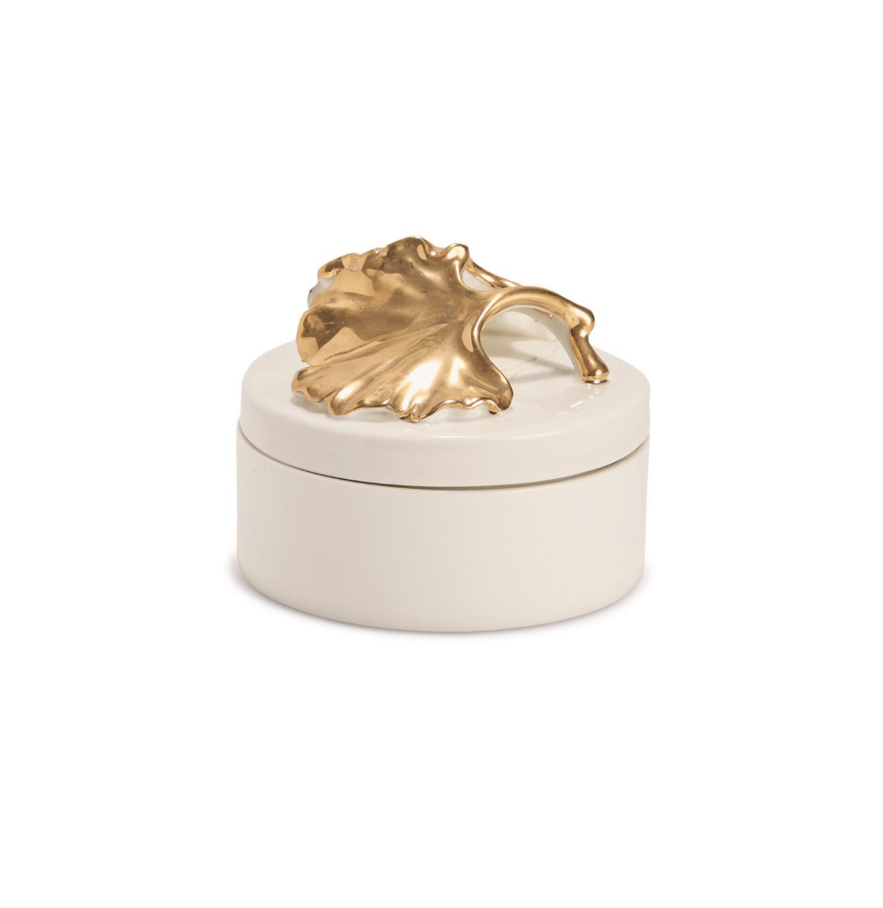 Two's Company Gold Ginkgo Leaf Covered Box