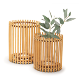 Two's Company Hand-Crafted Bamboo Vase - 9' HIGH