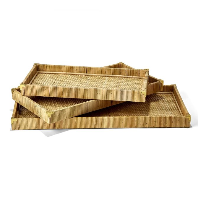 Two's Company OVERSIZED RATTAN TRAYS - MED