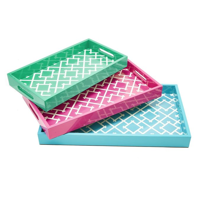 Two's Company PATTERN PLAY GALLERY TRAYS - LG / BLUE