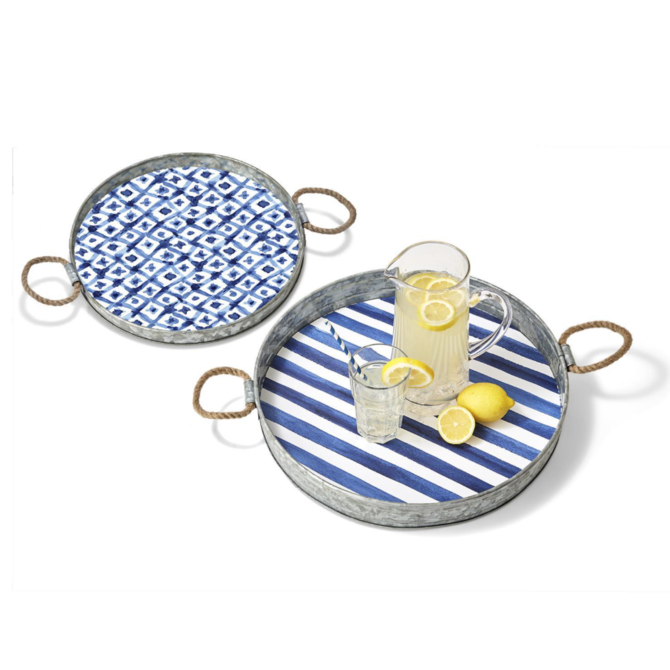Two's Company PATTERNED SERVING TRAY - 15' RD