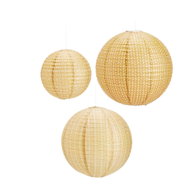 Two's Company RATTAN WEAVE LANTERNS - SET OF 3