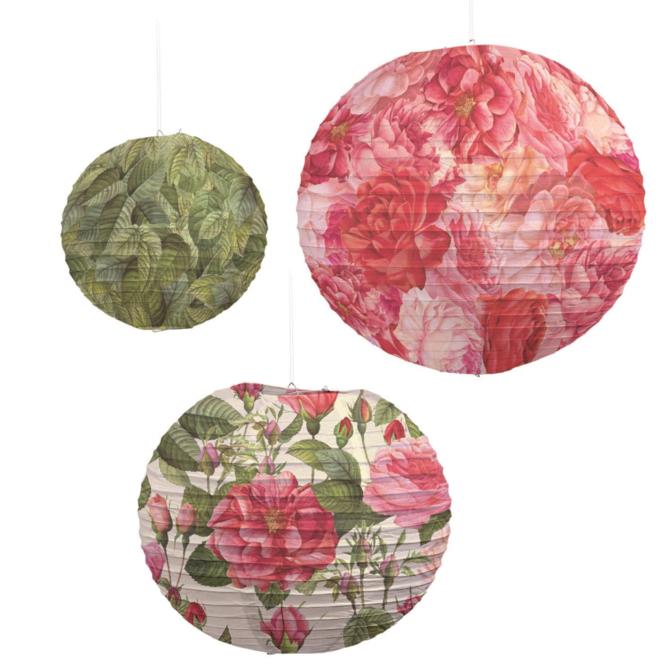 Two's Company Rose Pattern Lanterns S/3