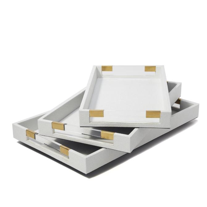 Two's Company Stingray Tray White Small