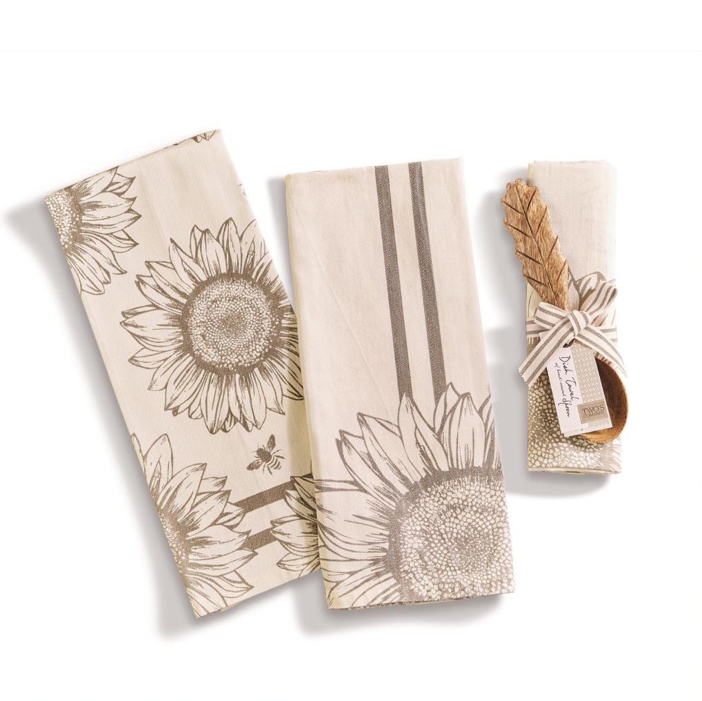 Two's Company Sunflower Dish Towel & Spoon