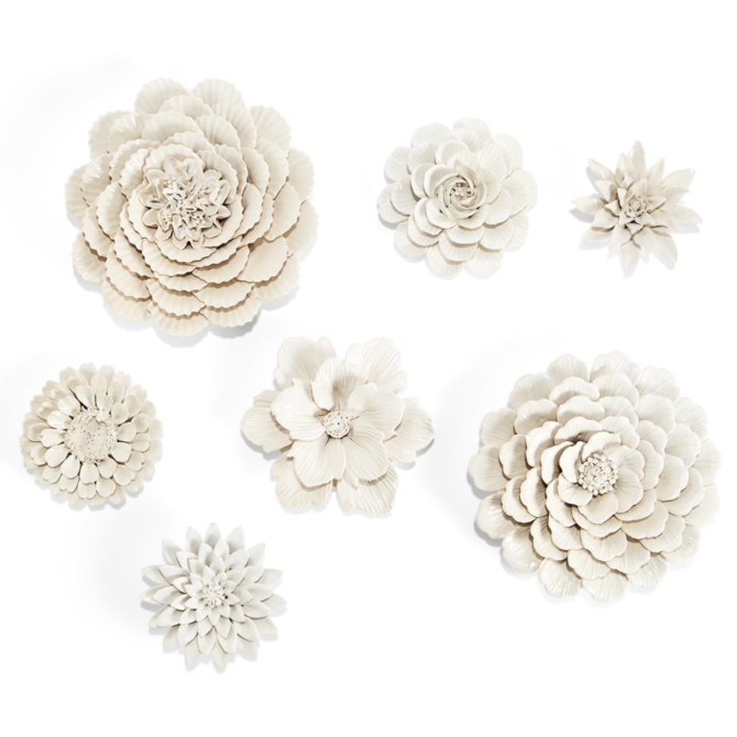 Two's Company Two's Company White Porcelain Garden S/7 Flower Wall Sculptures
