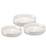 Two's Company White Rattan Round Tray Medium