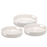 Two's Company White Rattan Round Tray Small