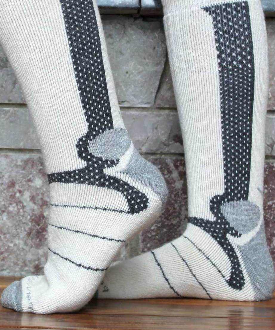 Peruvian Link Mountaineer Alpaca Sock Ivory/Char L/XL
