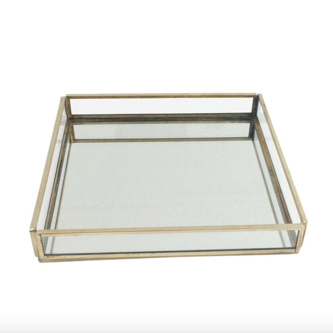 BIDKHOME Medium Glass/Brass Square Tray