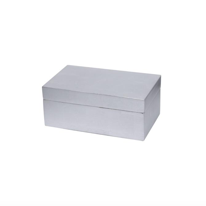 BIDKHOME Small Lacquer Silver Leaf Box