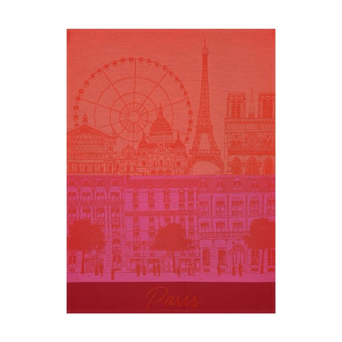 LJF Paris Panorama Red Kiss Tea Towel