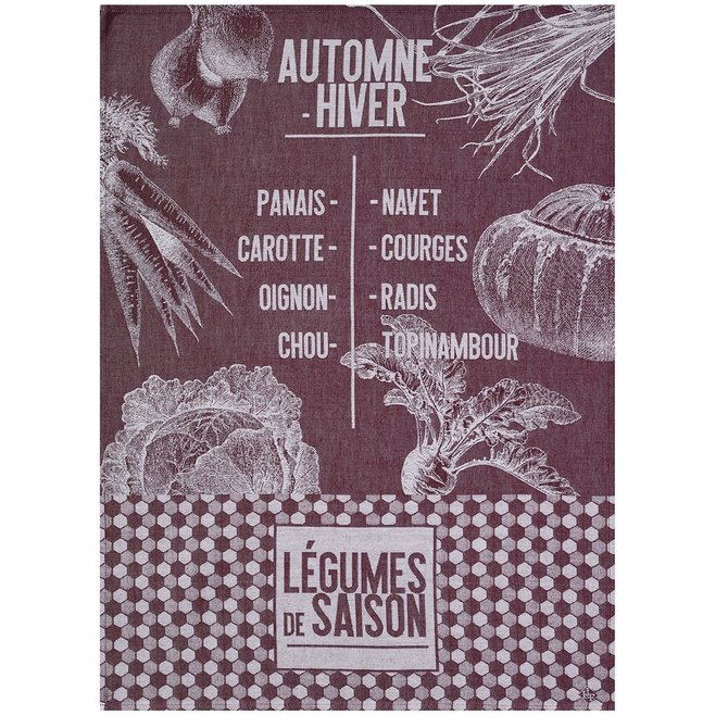 LJF De Saison Legumes Aubergine Tea Towel