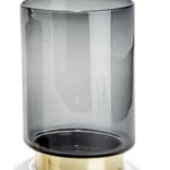 Two's Company Smokey Vase w/Brass Small