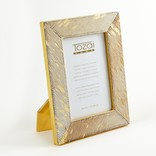 Two's Company Golden Cowhide Small Photo Frame