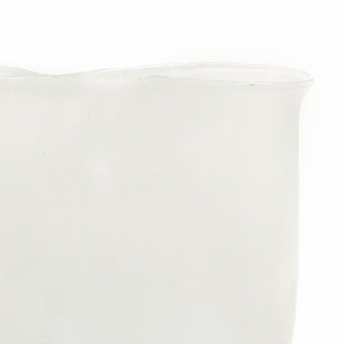 Two's Company Ellipse White Frosted Vase Small