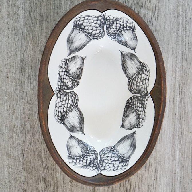 Laura Zindel Design Large Serving Dish Double Acorn