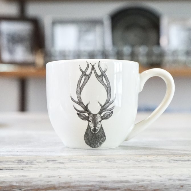 Laura Zindel Design Espresso Cup and Saucer Red Stag