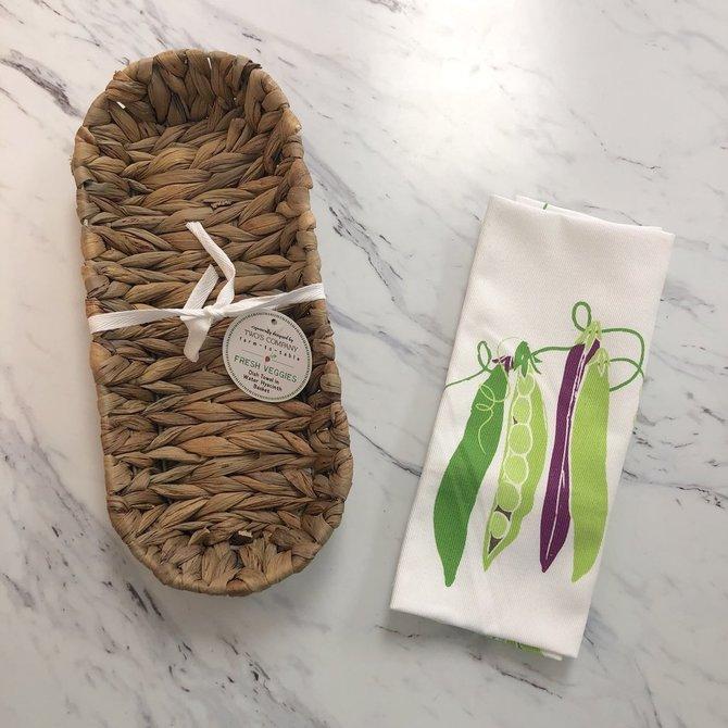 Two's Company Veggie Dish Towel & Basket
