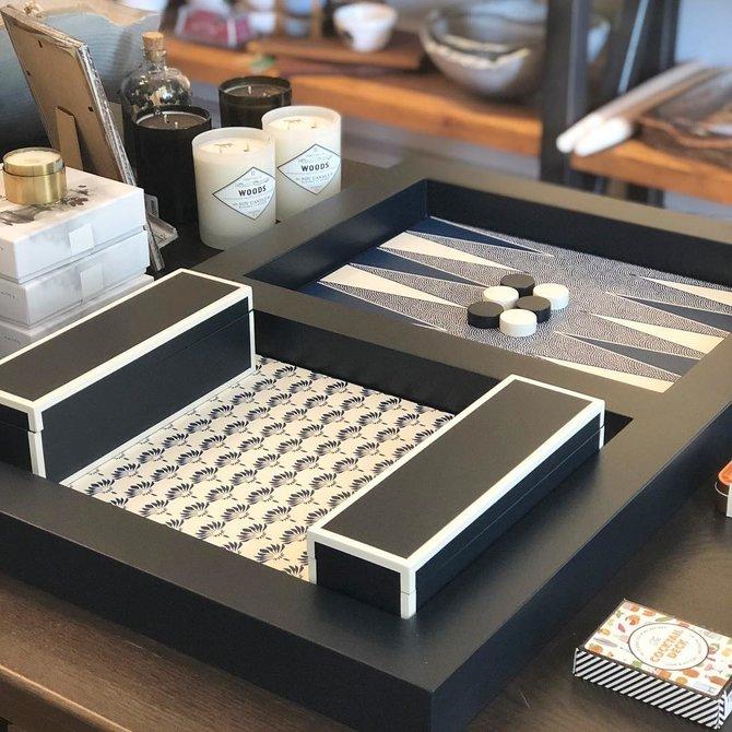 Holly Stuart Home Backgammon Tray Navy Full Set