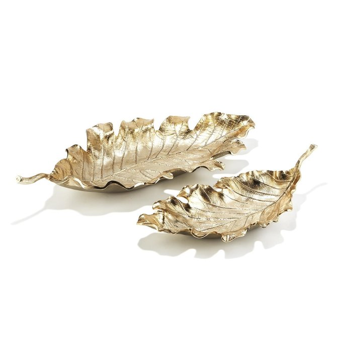 Two's Company Champagne Leaf Decorative Tray Large