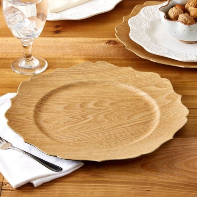 Two's Company Scalloped Wood Veneer Charger