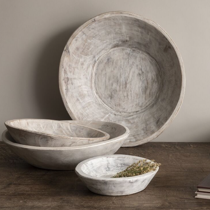 JC and Rollie Found Dough Bowl, White Wash Large