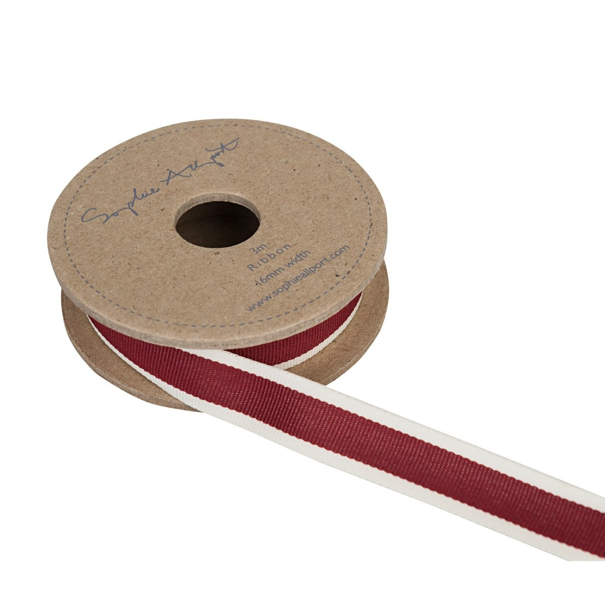 Sophie Allport Ribbon On Spool Claret Red Stripe