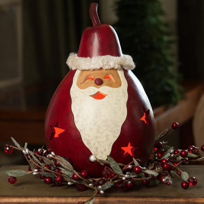 Meadowbrook Gourds Santa Medium Lit