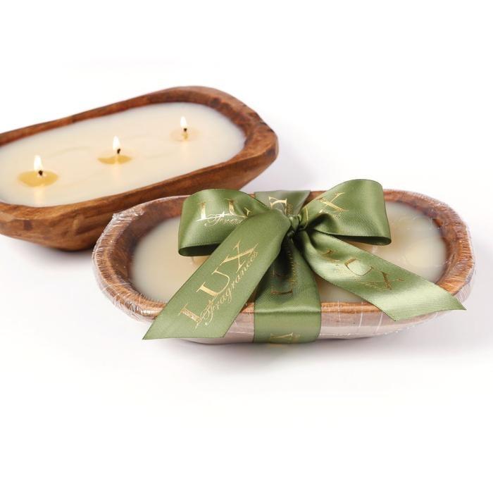 Lux Fragrances Heirloom Pumpkin 3-Wick Dough Bowl Candle
