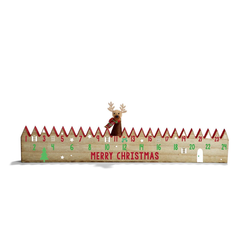 Two's Company Wood Advent Calendar w/ Reindeer