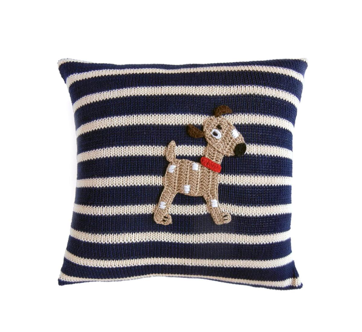 Melange Dog pillow with stripes