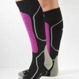 Peruvian Link Skier Alpaca Socks Black/Fuchsia L/XL